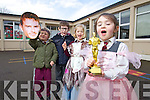 Pupils from Fossa National School cheering on former student Michael Fassbender who has been nominated for best supporting actor in the movie 12 Years A Slave from left are: Robert Daly, Jack Hallissey, Sadhbh O'Driscoll and Ava McGregor.