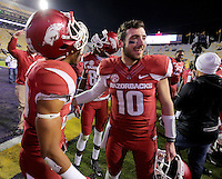 11/14/15<br /> Arkansas Democrat-Gazette/STEPHEN B. THORNTON<br /> Arkansas' Jared Collins celebrates with Brandon Allen after the game  Saturday in Baton Rouge, La.