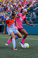 Rochester, NY - Saturday Aug. 27, 2016: Poliana Barbosa, Jessica McDonald during a regular season National Women's Soccer League (NWSL) match between the Western New York Flash and the Houston Dash at Rochester Rhinos Stadium.
