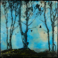 Photography of dawn migration with encaustic painting of morning turquoise sky. SOLD