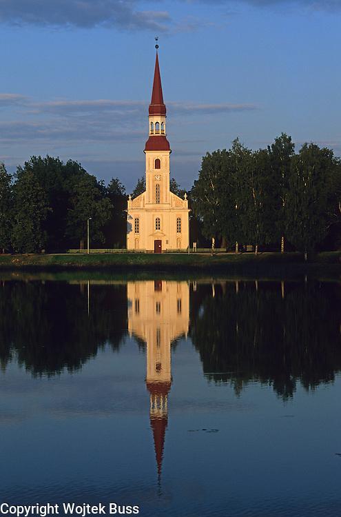 Estonia,Rapina,lake and church