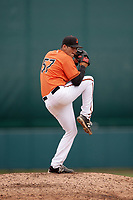 Baltimore Orioles pitcher Tucker Baca (57) delivers a pitch during an Instructional League game against the Tampa Bay Rays on October 5, 2017 at Ed Smith Stadium in Sarasota, Florida.  (Mike Janes/Four Seam Images)