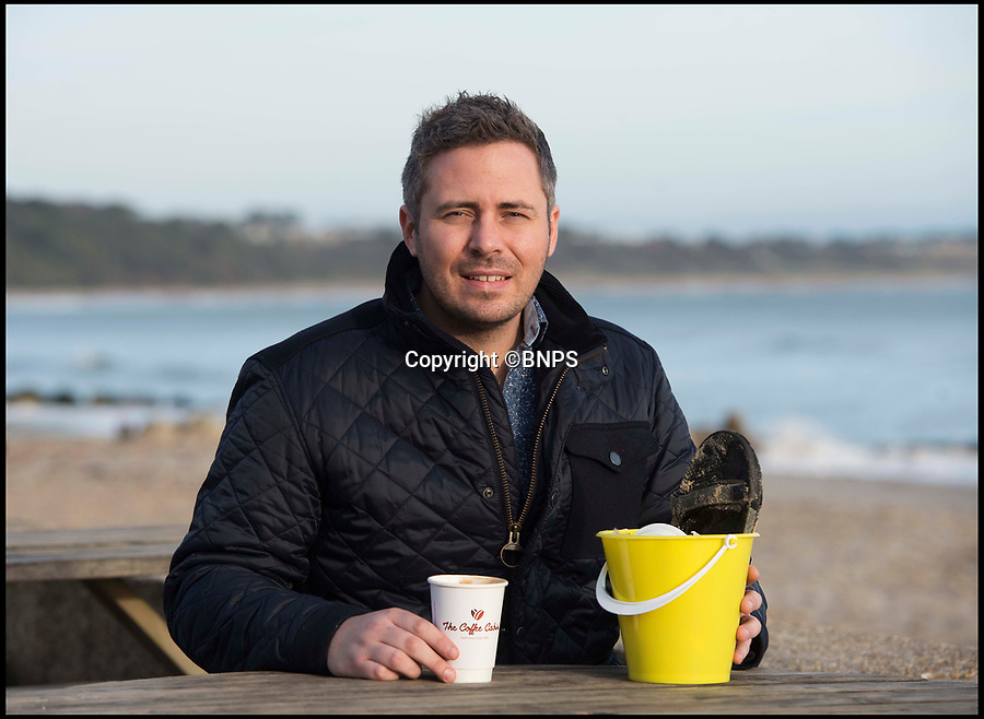 BNPS.co.uk (01202 558833)Pic: LeeMcLean/BNPS<br /> Peter Hayward (32) owner of The Noisy Lobster. The restaurant will give away free cups of coffee to any volunteers who collect a bucket of rubbish.<br /> <br /> A seaside restaurant has been praised for offering free coffee to customers who pick up rubbish from the beach after being inspired by Blue Planet II.<br /> <br /> The Noisy Lobster will give away free cups of coffee to any volunteers who collect a bucket of rubbish from Avon Beach in Christchurch, Dorset.<br /> <br /> Owner Peter Hayward said he decided to do something about the litter after watching the hit BBC nature series narrated by Sir David Attenborough which has highlighted the danger plastic and other rubbish poses to marine life.