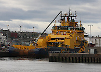 Oil Supply Ship Magne Viking berthed in Aberdeen Harbour.