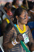Altamira, Brazil. Encontro Xingu protest meeting about the proposed Belo Monte hydroeletric dam and other dams on the Xingu river and its tributaries. Kayapo woman with machete.