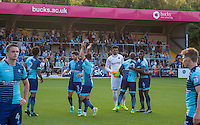 Wycombe players before kick off during the Sky Bet League 2 match between Wycombe Wanderers and Accrington Stanley at Adams Park, High Wycombe, England on 16 August 2016. Photo by Andy Rowland.