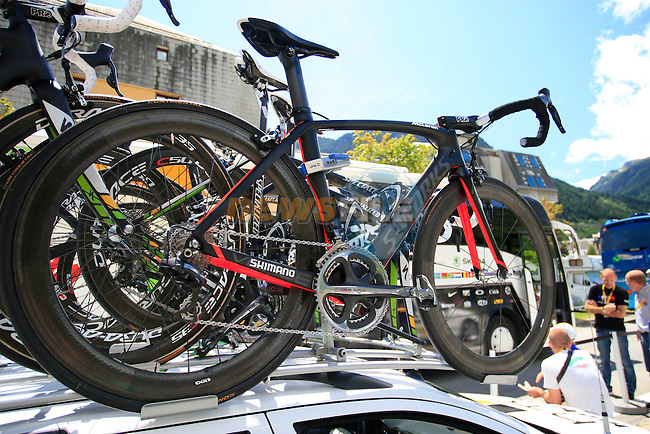 Mark Cavendish's HTC-Highroad Specialized Venge bike on the team car before the start of Stage 19 of the 2011 Tour de France from Modane to Alpe D'Huez, 22d July 2011 (Photo by Chris Timmins/NEWSFILE)