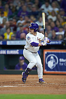 Zack Mathis (17) of the LSU Tigers at bat against the Texas Longhorns in game three of the 2020 Shriners Hospitals for Children College Classic at Minute Maid Park on February 28, 2020 in Houston, Texas. The Tigers defeated the Longhorns 4-3. (Brian Westerholt/Four Seam Images)