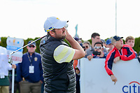 Marc Leishman (AUS) watches his tee shot on 15 during round 3 Foursomes of the 2017 President's Cup, Liberty National Golf Club, Jersey City, New Jersey, USA. 9/30/2017.<br /> Picture: Golffile | Ken Murray<br /> <br /> All photo usage must carry mandatory copyright credit (&copy; Golffile | Ken Murray)