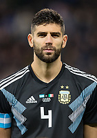 Federico Fazio (Roma) of Argentina during the International Friendly match between Argentina and Italy at the Etihad Stadium, Manchester, England on 23 March 2018. Photo by Andy Rowland.