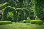 Vashon Island, Washington:<br /> Hornbeam (Carpinus betulus) arches and boxwood hedges at Froggsong Garden, Summer
