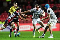 Rhys Priestland of Bath Rugby takes on the Bristol Rugby defence. European Rugby Challenge Cup match, between Bristol Rugby and Bath Rugby on January 13, 2017 at Ashton Gate Stadium in Bristol, England. Photo by: Patrick Khachfe / Onside Images