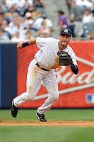 New York Yankees shortstop Derek Jeter #2 during a game against the Baltimore Orioles at Yankee Stadium on September 5, 2011 in Bronx, NY.  Yankees defeated Orioles 11-10.  Tomasso DeRosa/Four Seam Images