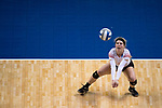 GRAND RAPIDS, MI - NOVEMBER 18: Madison Manger (1) of Wittenberg University hits that ball during the Division III Women's Volleyball Championship held at Van Noord Arena on November 18, 2017 in Grand Rapids, Michigan. Claremont-M-S defeated Wittenberg 3-0 to win the National Championship. (Photo by Doug Stroud/NCAA Photos via Getty Images)