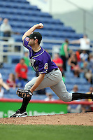 July 7th 2008:  Pitcher Kevin Dixon of the Akron Aeros, Class-AA affiliate of the Cleveland Indians, during a game at NYSEG Stadium in Binghamton, NY.  Photo by:  Mike Janes/Four Seam Images