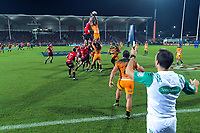 Tomas Lavanini takes lineout ball during the 2019 Super Rugby final between the Crusaders and Jaguares at Orangetheory Stadium in Christchurch, New Zealand on Saturday, 6 July 2019. Photo: Dave Lintott / lintottphoto.co.nz