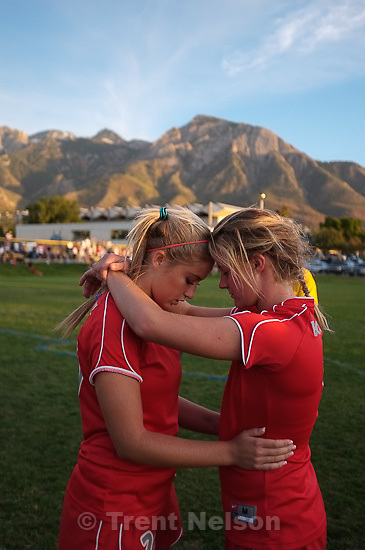 Trent Nelson  |  The Salt Lake Tribune.Bountiful's Leah Wood, left, and Alexis Peterson during a tense shootout. Skyline defeats Bountiful in a shootout, high school soccer playoffs, in Herriman, Utah, Thursday, October 13, 2011.