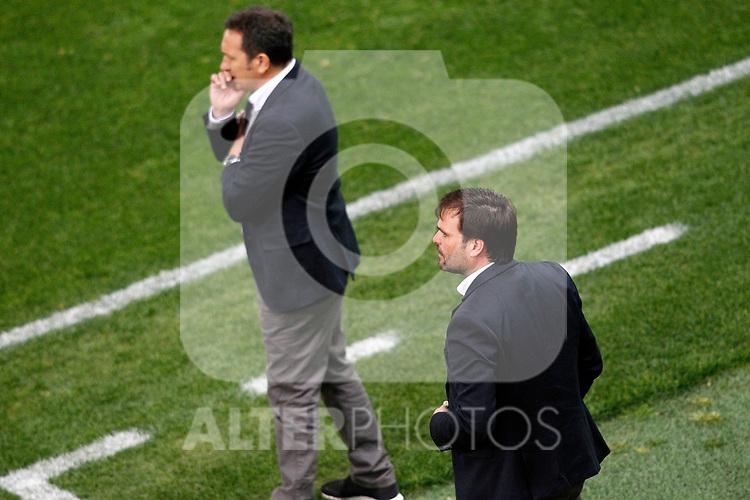 Real Sociedad's coach Eusebio Sacristan (l) and his second Juan Carlos Andres during La Liga match. April 4,2017. (ALTERPHOTOS/Acero)