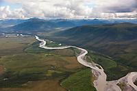 Aerial of the John River, Brooks Range mountains, Arctic, Alaska.