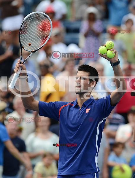 FLUSHING NY- SEPTEMBER 2: Novak Jokovic Vs Julien Benneteau on Arthur Ashe stadium at the USTA Billie Jean King National Tennis Center on September 2, 2012 in in Flushing Queens. Credit: mpi04/MediaPunch Inc. ***NO NY NEWSPAPERS*** /NortePhoto.com<br /> <br /> **CREDITO*OBLIGATORIO** <br /> *No*Venta*A*Terceros*<br /> *No*Sale*So*third*<br /> *** No*Se*Permite*Hacer*Archivo**<br /> *No*Sale*So*third*