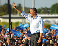 HOLLYWOOD, FL - NOVEMBER 04: President Barack Obama speaks during a grassroots event at McArthur High School on November 4, 2012 in Hollywood, Florida.   Credit: mpi04/MediaPunch Inc. .<br />