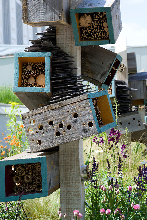 "Bug boxes or insect hotels. ""Future Nature"" Garden, by Ark Design Management Ltd, RHS Chelsea Flower Show 2009."