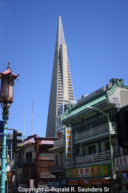 CHINATOWN WITH TRANSAMERICA PYRAMID IN BACKGROUND