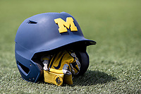 Michigan Wolverines helmet on April 27, 2019 in the NCAA baseball game at Ray Fisher Stadium in Ann Arbor, Michigan. Michigan defeated Rutgers 10-1. (Andrew Woolley/Four Seam Images)
