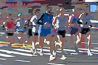Blurred abstraction of runners in the 2010 New York City Marathon.