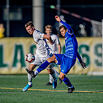 26 October 2019: University of Massachusetts Lowell River Hawk Forward Stanley Alves, a Graduate from Minas Gerais, Brazil, keep the ball away from UVM Midfielder Jon Arnar Barðdal, a Senior from Garðabær, Iceland, in first half action against the University of Vermont Catamounts at Virtue Field in Burlington, Vermont. The Catamounts rallied to defeat the River Hawks 2-1, propelling the Cats to the America East Division 1 conference playoffs. Mandatory Credit: Ed Wolfstein Photo *** RAW (NEF) Image File Available ***