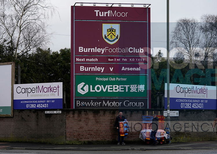 Scarf seller sets up his stand before the Premier League match at Turf Moor, Burnley. Picture date: 2nd February 2020. Picture credit should read: Andrew Yates/Sportimage