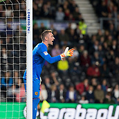 8th September 2017, Pride Park Stadium, Derby, England; EFL Championship football, Derby County versus Hull City; Hull City goalkeeper Allan McGregor shouting at his team mates during the first half