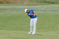 Si Woo Kim (KOR) hits his second shot on the 9th hole during the second round of the 118th U.S. Open Championship at Shinnecock Hills Golf Club in Southampton, NY, USA. 15th June 2018.<br /> Picture: Golffile | Brian Spurlock<br /> <br /> <br /> All photo usage must carry mandatory copyright credit (&copy; Golffile | Brian Spurlock)