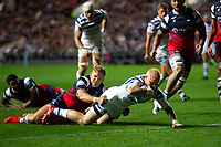 Tom Homer of Bath Rugby scores a try in the second half. Gallagher Premiership match, between Bristol Bears and Bath Rugby on August 31, 2018 at Ashton Gate Stadium in Bristol, England. Photo by: Patrick Khachfe / Onside Images