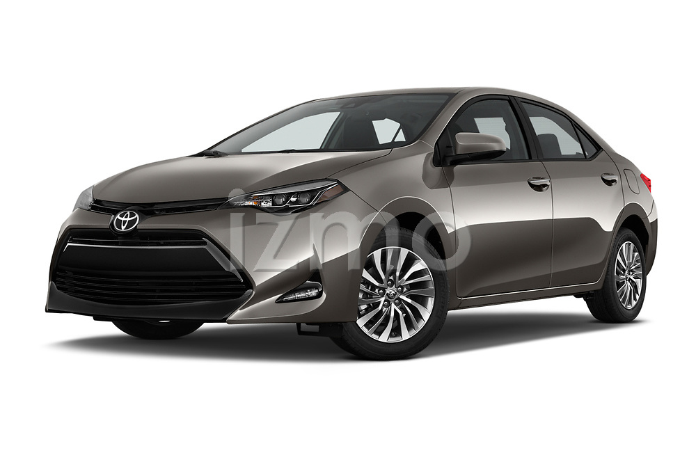 Stock pictures of low aggressive front three quarter view of 2017 Toyota Corolla XLE Premium 4 Door Sedan