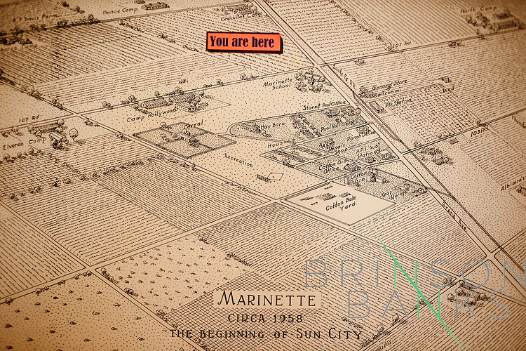 A map displays what Marinette looked like before it became Sun City, Arizona in 1960. Seen at the Del Webb Sun Cities Museum.