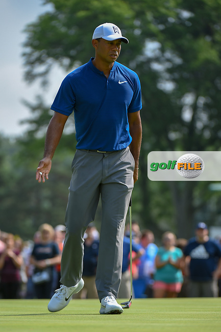Tiger Woods (USA) watches his putt on 12 during 1st round of the World Golf Championships - Bridgestone Invitational, at the Firestone Country Club, Akron, Ohio. 8/2/2018.<br /> Picture: Golffile   Ken Murray<br /> <br /> <br /> All photo usage must carry mandatory copyright credit (© Golffile   Ken Murray)