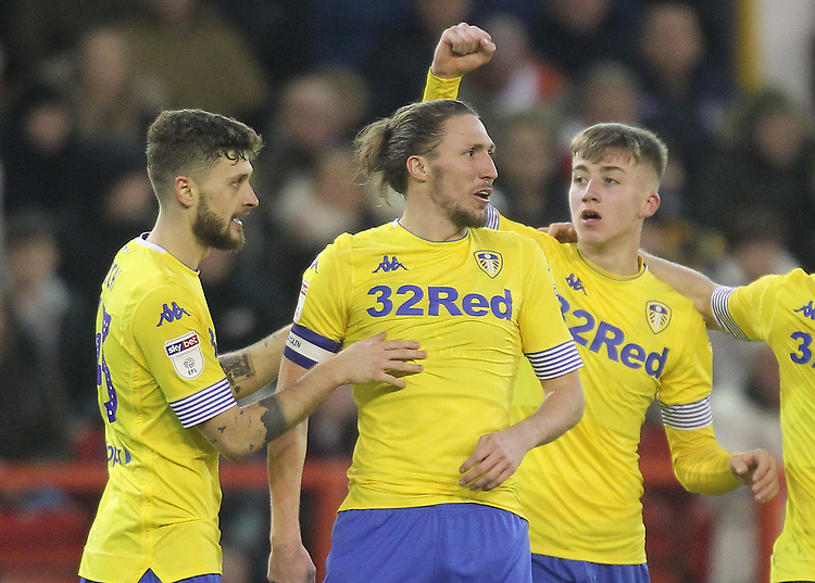Leeds United's Jack Clarke  celebrates scoring his sides first goal <br /> <br /> Photographer Mick Walker/CameraSport<br /> <br /> The EFL Sky Bet Championship - Nottingham Forest v Leeds United - Tuesday 1st January 2019 - The City Ground - Nottingham<br /> <br /> World Copyright © 2019 CameraSport. All rights reserved. 43 Linden Ave. Countesthorpe. Leicester. England. LE8 5PG - Tel: +44 (0) 116 277 4147 - admin@camerasport.com - www.camerasport.com