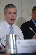 Washington, DC - January 22, 2014: Arne Duncan, U.S. Secretary of Education, provided key remarks to the the Education Reform Task Force during the 82nd Winter Meeting of the U.S. Conference of Mayors. (Photo by Don Baxter/Media Images International)