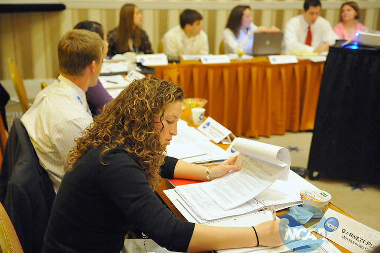 13 JAN 2009: Members of the Division III SAAC meet at the 2009 NCAA Convention at the Gaylord National Resort and Convention Center in Washington D.C. Pictured: Michelle Jorwic. Stephen Nowland/NCAA Photos
