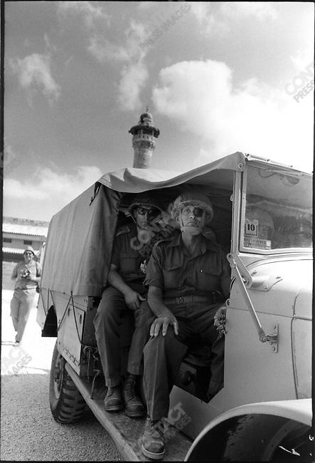 Six Day War, General Moshe Dayan with Central Command Commander Uzi Narkis (left), Jerusalem, Israel, June 1967
