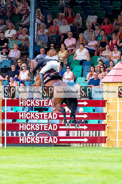 Winner. Kevin Jochems riding Captain Cooper. NED. Jump Off. The Longines BHS King George V Gold Cup. Longines FEI Jumping Nations Cup of Great Britain at the BHS Royal International Horse Show. All England Jumping Course. Hickstead. Great Britain. 27/07/2018. ~ MANDATORY Credit Elli Birch/Sportinpictures - NO UNAUTHORISED USE - 07837 394578
