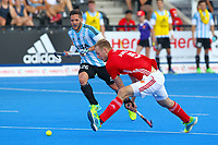 England's David Ames shoots for goal during the Hockey World League Semi-Final match between England and Argentina at the Olympic Park, London, England on 18 June 2017. Photo by Steve McCarthy.
