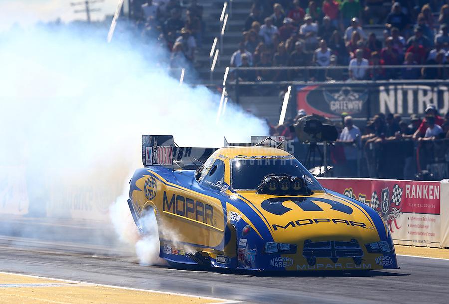 Sep 29, 2013; Madison, IL, USA; NHRA funny car driver Matt Hagan during the Midwest Nationals at Gateway Motorsports Park. Mandatory Credit: Mark J. Rebilas-