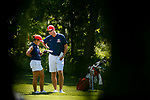 STILLWATER, OK - MAY 23: Bianca Paganganan of Arizona talks with her coach Derek Radley during the Division I Women's Golf Team Match Play Championship held at the Karsten Creek Golf Club on May 23, 2018 in Stillwater, Oklahoma. (Photo by Shane Bevel/NCAA Photos via Getty Images)