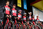 Trek-Segafredo on stage at the team presentation before Stage 1 of the Criterium du Dauphine 2019, running 142km from Aurillac to Jussac, France. 9th June 2019<br /> Picture: ASO/Alex Broadway | Cyclefile<br /> All photos usage must carry mandatory copyright credit (© Cyclefile | ASO/Alex Broadway)