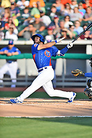 Tennessee Smokies second baseman David Bote (15) swings at a pitch during a game against the Biloxi Shuckers at Smokies Stadium on May 26, 2017 in Kodak, Tennessee. The Smokies defeated the Shuckers 3-2. (Tony Farlow/Four Seam Images)