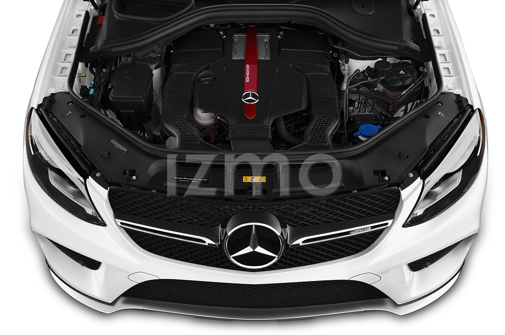 Car stock 2019 Mercedes Benz GLE Coupe AMG GLE43 5 Door SUV engine high angle detail view
