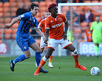 Blackpool's Armand Gnanduillet shields the ball from Rochdale's Jordan Williams<br /> <br /> Photographer Stephen White/CameraSport<br /> <br /> The EFL Sky Bet League One - Blackpool v Rochdale - Saturday 6th October 2018 - Bloomfield Road - Blackpool<br /> <br /> World Copyright © 2018 CameraSport. All rights reserved. 43 Linden Ave. Countesthorpe. Leicester. England. LE8 5PG - Tel: +44 (0) 116 277 4147 - admin@camerasport.com - www.camerasport.com