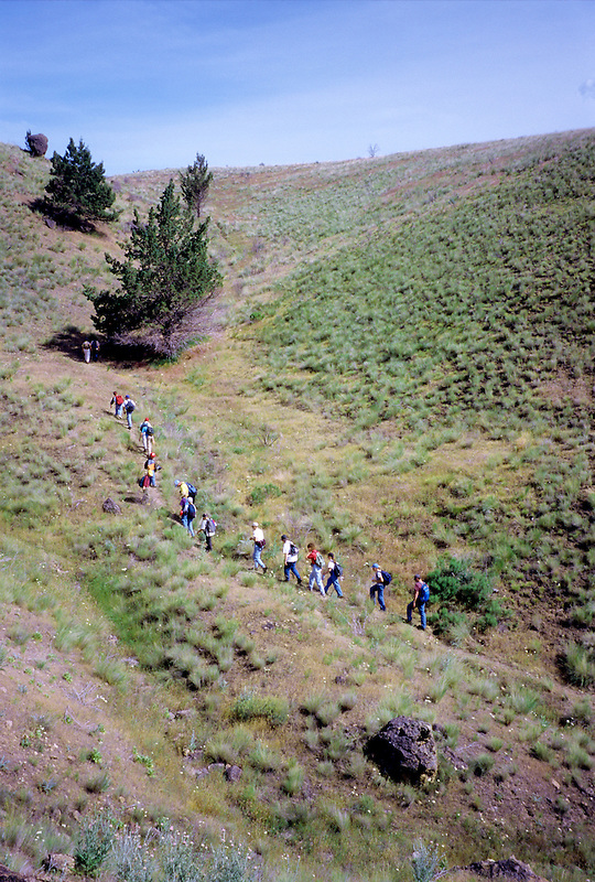Students with instructor on ecology field trip. Hancock Field Station, Oregon.